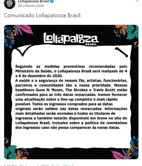 Coronavírus: Lollapalooza Brasil é adiado
